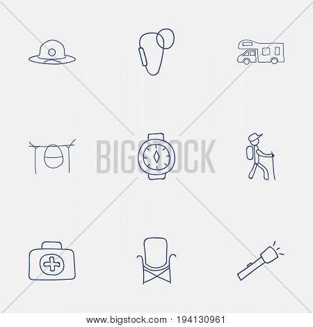Set Of 9 Editable Travel Icons. Includes Symbols Such As Flashlight, Wrist Clock, Hiker And More. Can Be Used For Web, Mobile, UI And Infographic Design.