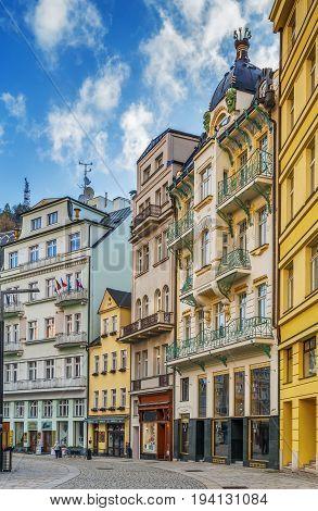 Street in Karlovy Vary city center Czech republic
