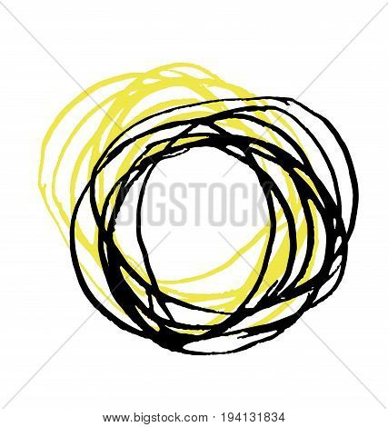 hand drawn string circle element. vector illustration.