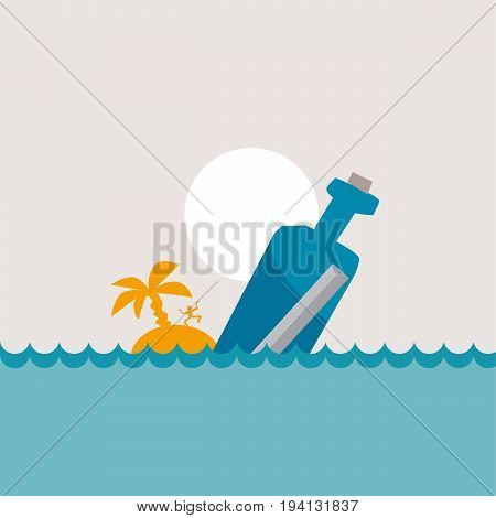 vector illustration of message bottle in the sea