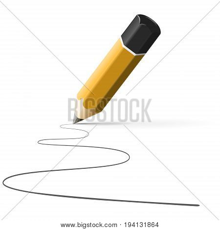 simple pencil hb with drawn line isolated on white background