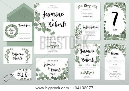 Wedding Invitation invite card Design with Eucalyptus green silver branches leaves foliage composition wreath. Vector Botanical Template forest elegant cute set collection.Anniversary greenery layout