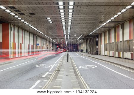Beech Street tunnel in Barbican City of London