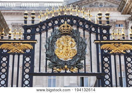 Buckingham Palace details of decorative fence London United Kingdom. Palace is the London residence and administrative headquarters of the reigning monarch of the United Kingdom