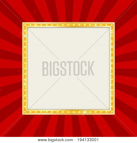 Empty Theater Sign Or Cinema Sign On Pop Art Background. Gold Retro Signboard