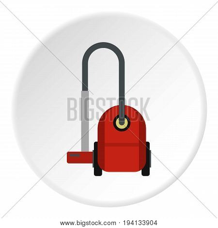 Red vacuum cleaner icon in flat circle isolated vector illustration for web
