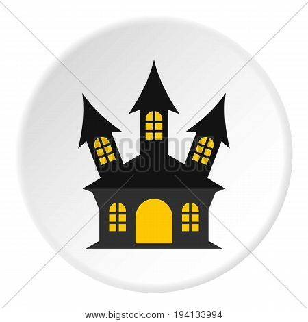 Ancient palace icon in flat circle isolated vector illustration for web