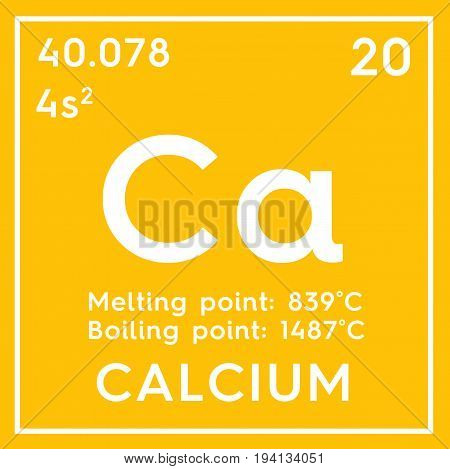 Calcium. Alkaline earth metals. Chemical Element of Mendeleev's Periodic Table. Calcium in square cube creative concept.
