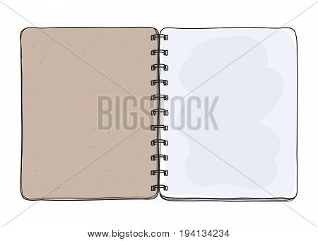 notebook hand drawn on white background blank paper cover art vector illustration