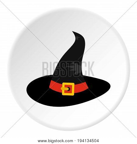 Witch hat icon in flat circle isolated vector illustration for web