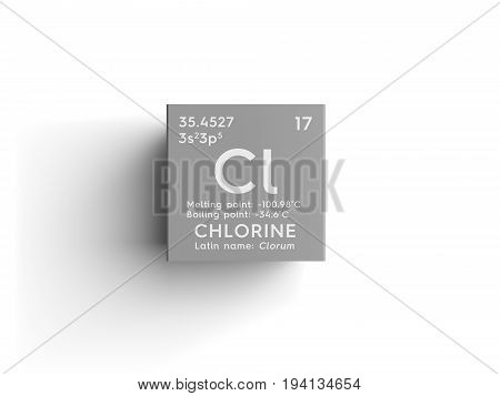 Chlorine. Clorum. Halogens. Chemical Element of Mendeleev's Periodic Table. Chlorine in square cube creative concept.
