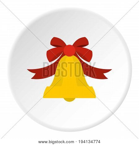 Bell with red bow icon in flat circle isolated vector illustration for web