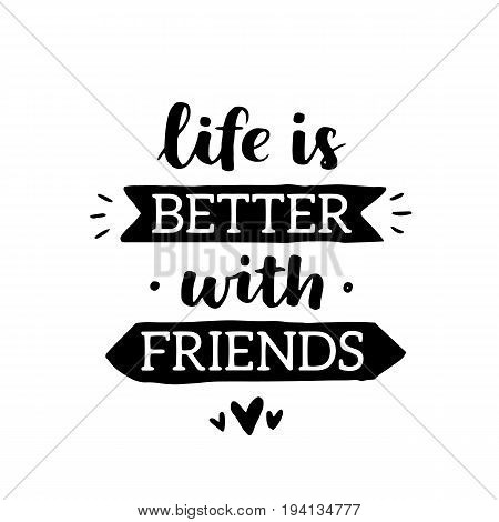 Vector Motivational Illustration With Hand Written Lettering About Friendship. Greeting Card With Bl