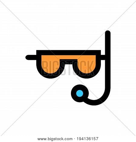 Diver flat icon. Scuba diving vector illustration. Swimming diver isolated, eps 10