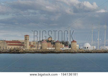 Windmills at Mandraki Harbour Rhodes Greece Europe