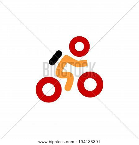 Cyclist icon. Simple flat logo of cyclist on white background. Silhouette of a cyclist. Vector illustration. Eps 10