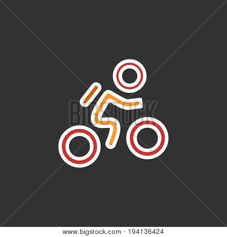 Cyclist icon. Simple flat logo of cyclist on black background. Silhouette of a cyclist. Vector illustration. Eps 10