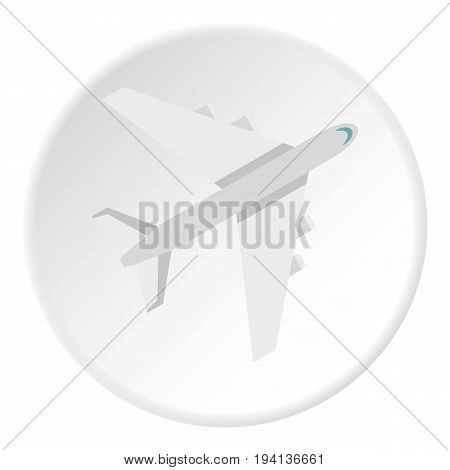 Passenger plane icon in flat circle isolated vector illustration for web