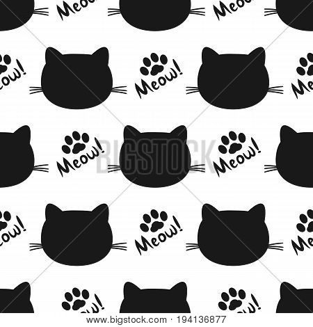 Repeated silhouettes of cat heads and paws. Lettering Meow! Seamless pattern. Vector illustration. Black white color.