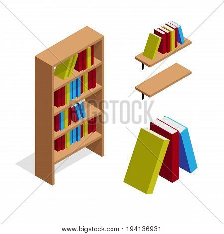 Isometric bookcase and bookshelf with books illustration. 3d vector furniture icons