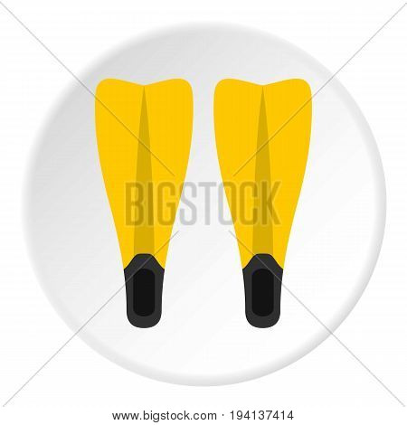 Flippers for diving icon in flat circle isolated vector illustration for web