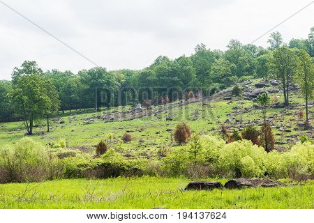 Gettysburg USA - May 24 2017: Little Round Top in Gettysburg battlefield national park during summer with grave stones