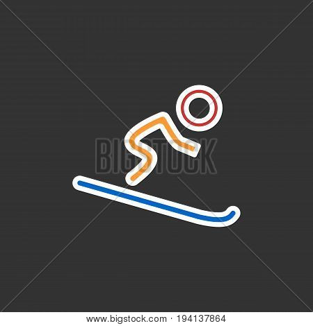 Silhouette of single mountain skier isolated on a black background. Vector flat illustration. Eps 10