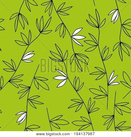 Green vegetable seamless pattern. Contour twigs with white flowers on a green background.