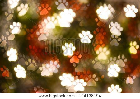 abstract animal paw print shape bokeh for background