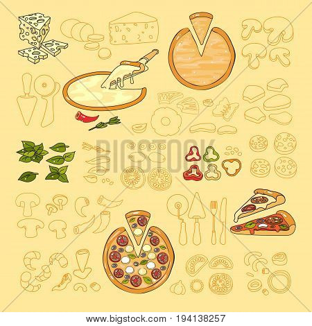 Pizza icon. Set of cute various pizza ingredient  icons. Vector illustration. Colorful and outline vegetable, seafood and tools for pizza isolated on light background.