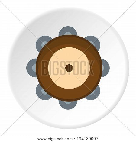 Tambourine icon in flat circle isolated vector illustration for web