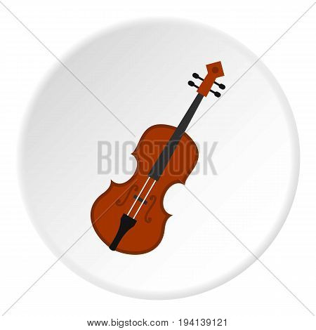 Cello icon in flat circle isolated vector illustration for web