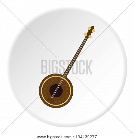 Dutar icon in flat circle isolated vector illustration for web