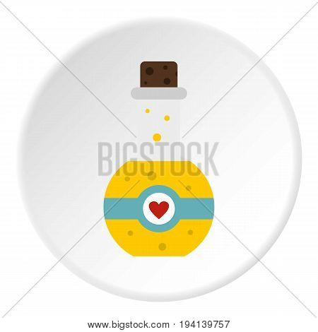 Magic potion icon in flat circle isolated vector illustration for web