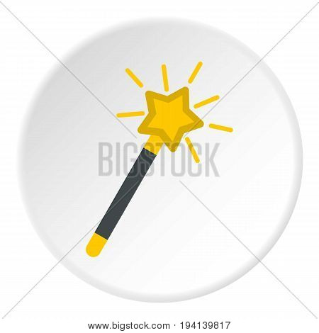 Magic wand icon in flat circle isolated vector illustration for web