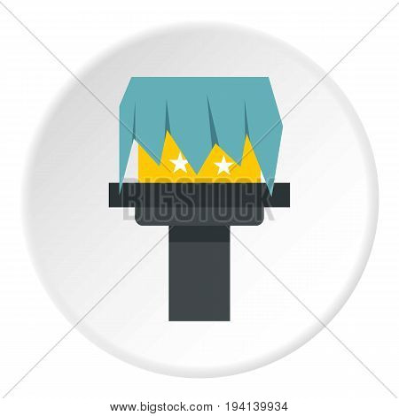 Box magic icon in flat circle isolated vector illustration for web