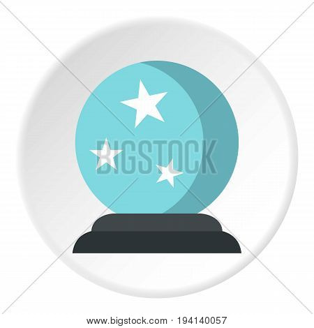 Crystal ball icon in flat circle isolated vector illustration for web