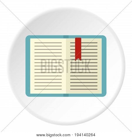 Open tutorial with bookmark icon in flat circle isolated vector illustration for web