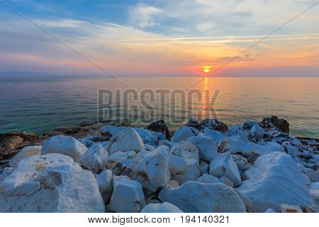 sunrise in Porto Vathy. Thassos Island Greece