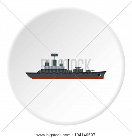 Warship icon in flat circle isolated vector illustration for web