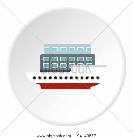 Large passenger ship icon in flat circle isolated vector illustration for web