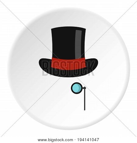 Hat with monocle icon in flat circle isolated vector illustration for web