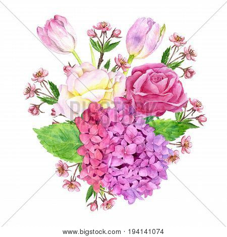watercolor flowers composition drawing at white paper background, bouqet with hydrangea, pink tulips and cherry blossoms