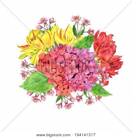 watercolor flowers composition drawing at white paper background, bouqet with hydrangea, tulips and cherry blossoms