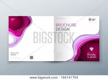 Square Paper cut brochure design. Paper carve abstract cover for brochure flyer magazine or catalog design. Brochure in pink colors