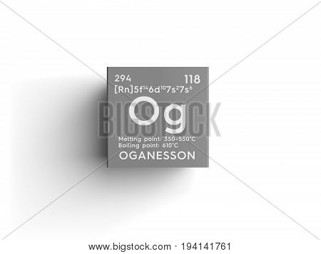Oganesson. Noble gases. Chemical Element of Mendeleev's Periodic Table. Oganesson in square cube creative concept.
