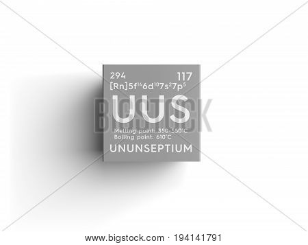 Ununseptium. Halogens. Chemical Element of Mendeleev's Periodic Table. Ununseptium in square cube creative concept.