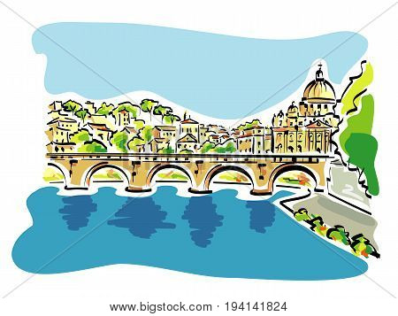 Vector illustration of Rome panorama, with the tiber river in the foreground, and the st. peter's cathedral in the background