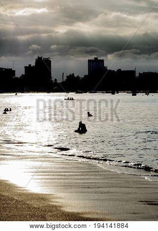 Sunset Backlight Scene At Salinas Beach, Ecuador
