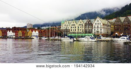 Bergen, Norway - June 4, 2017: Bryggen in the historical center of Bergen, Norway